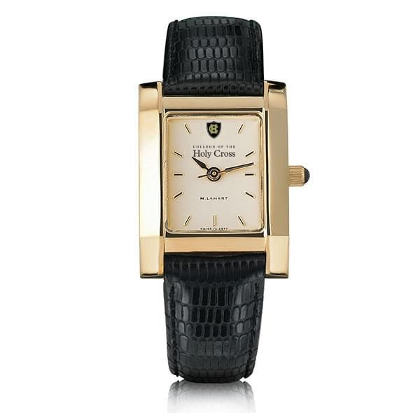 Holy Cross Women's Gold Quad Watch with Leather Strap - Image 2