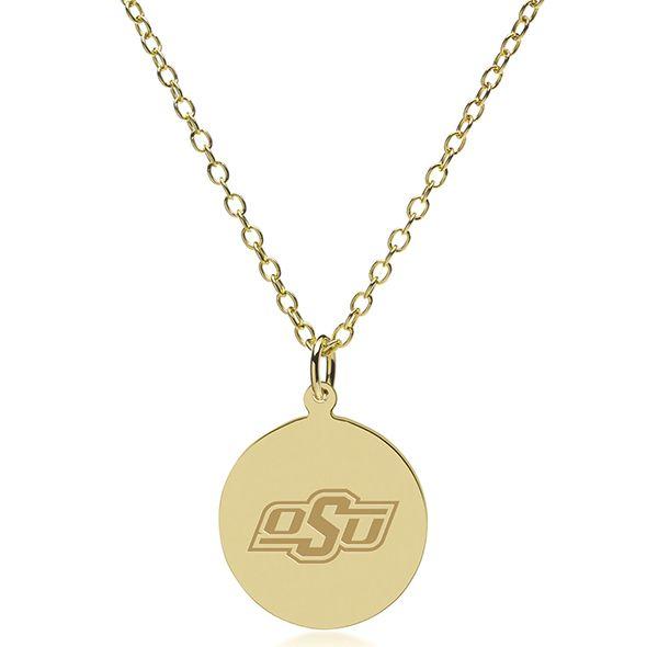 Oklahoma State University 18K Gold Pendant & Chain - Image 2