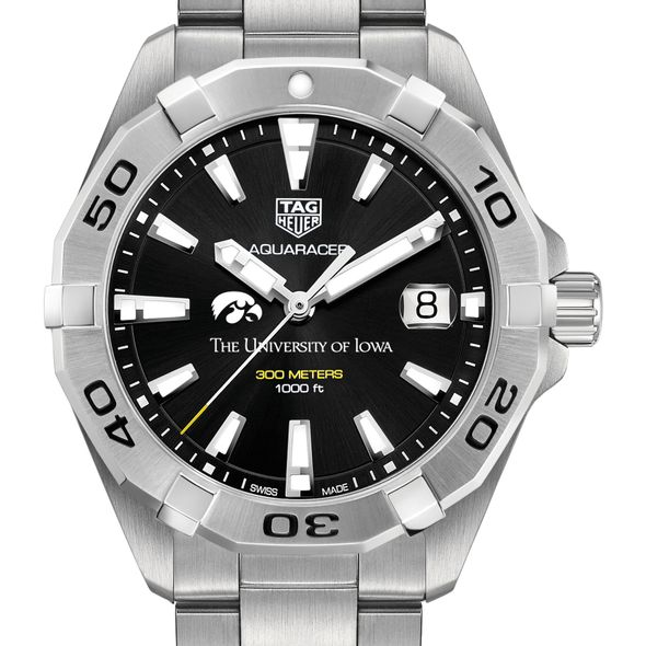University of Iowa Men's TAG Heuer Steel Aquaracer with Black Dial