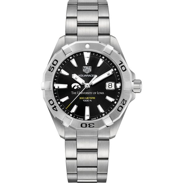 University of Iowa Men's TAG Heuer Steel Aquaracer with Black Dial - Image 2