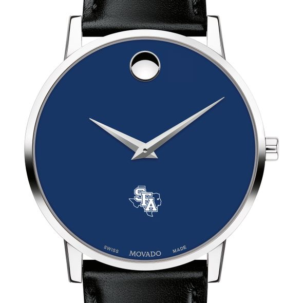 Stephen F. Austin State University Men's Movado Museum with Blue Dial & Leather Strap
