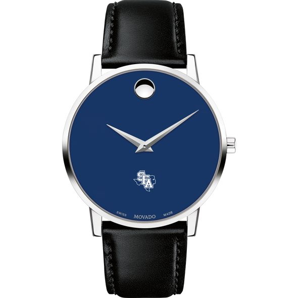 Stephen F. Austin State University Men's Movado Museum with Blue Dial & Leather Strap - Image 2