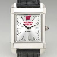 Wisconsin Men's Collegiate Watch with Leather Strap