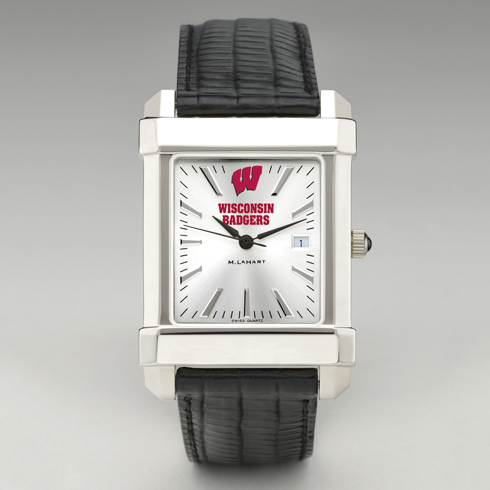 Wisconsin Men's Collegiate Watch with Leather Strap - Image 2