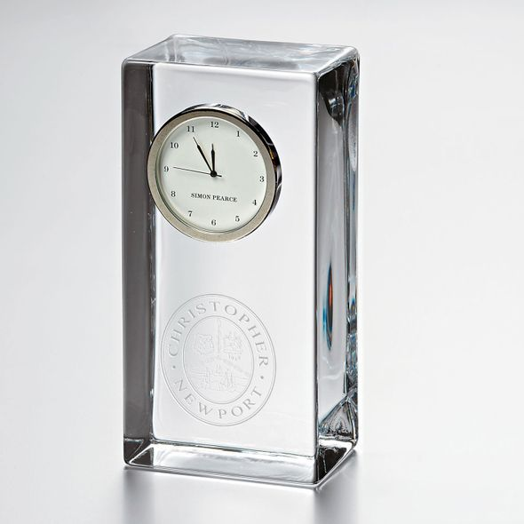 Christopher Newport University Tall Glass Desk Clock by Simon Pearce - Image 1