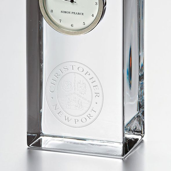 Christopher Newport University Tall Glass Desk Clock by Simon Pearce - Image 2