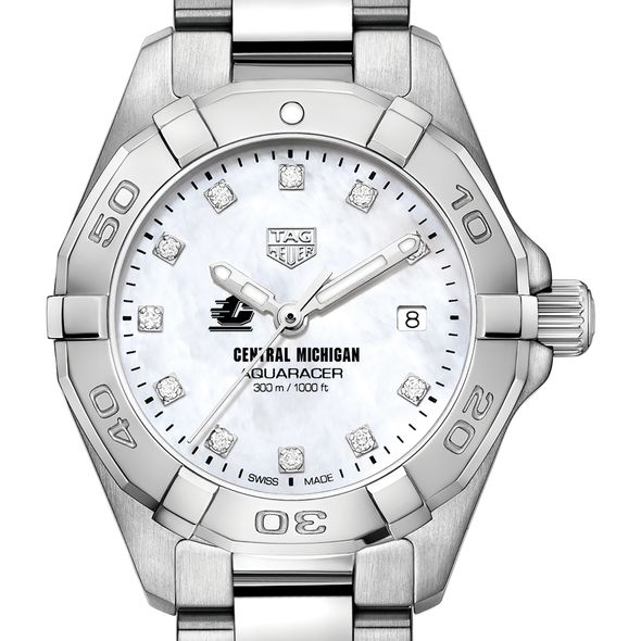 Central Michigan Women's TAG Heuer Steel Aquaracer with MOP Diamond Dial