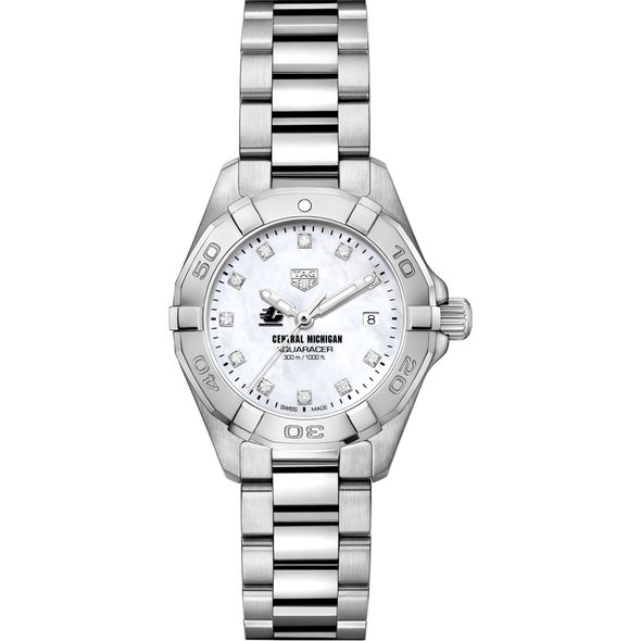 Central Michigan Women's TAG Heuer Steel Aquaracer with MOP Diamond Dial - Image 2