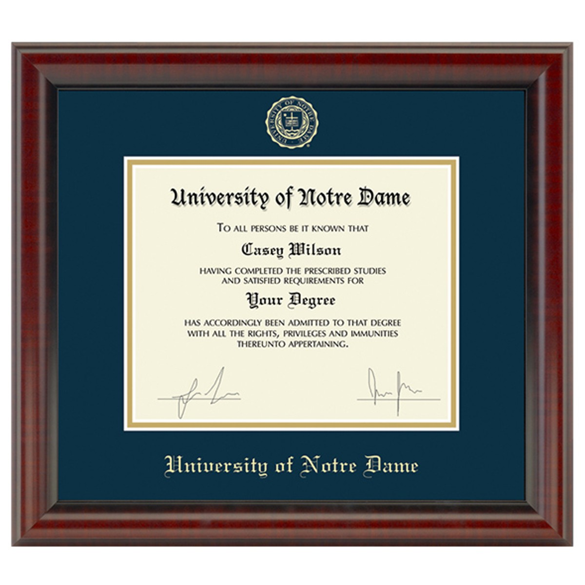 Official University Of Notre Dame Diploma Frame The