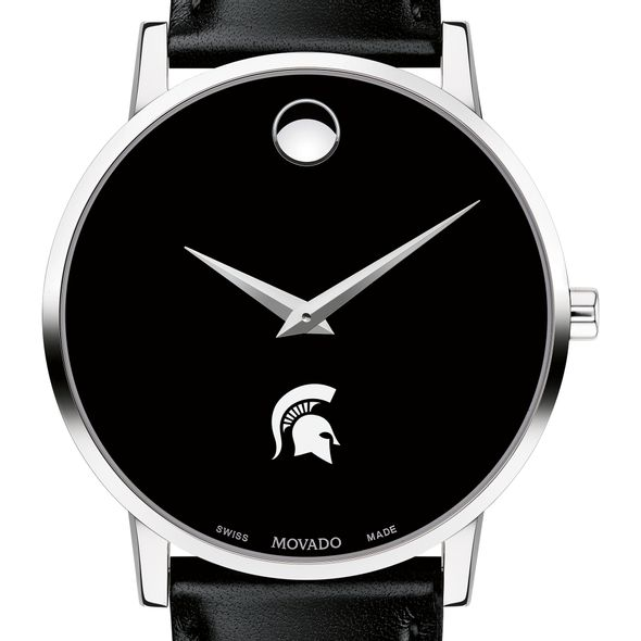 Michigan State University Men's Movado Museum with Leather Strap