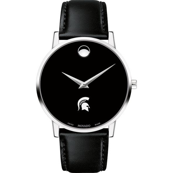 Michigan State Men's Movado Museum with Leather Strap - Image 2