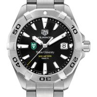 Tulane University Men's TAG Heuer Steel Aquaracer with Black Dial