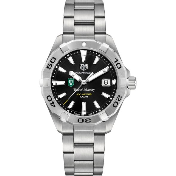 Tulane University Men's TAG Heuer Steel Aquaracer with Black Dial - Image 2