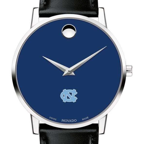 University of North Carolina Men's Movado Museum with Blue Dial & Leather Strap