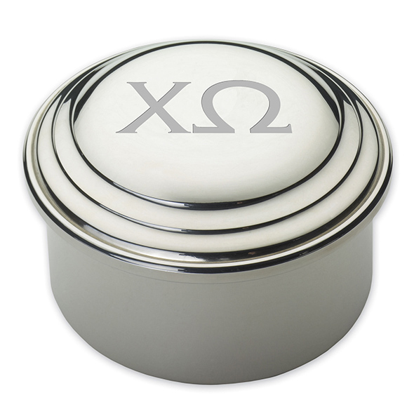 Chi Omega Pewter Keepsake Box