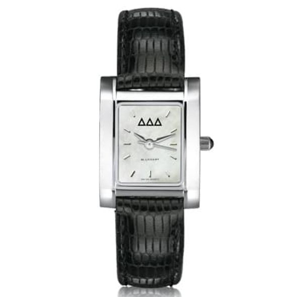 Delta Delta Delta Women's Mother of Pearl Quad Watch with Leather Strap