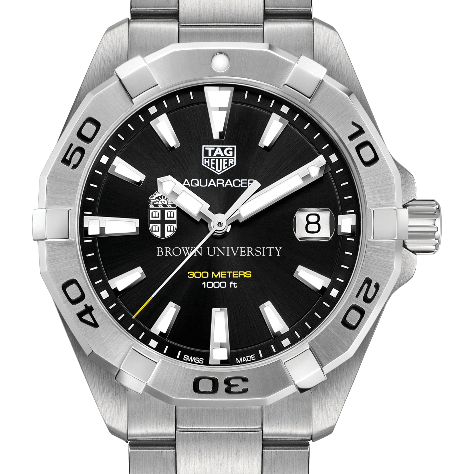Brown Men's TAG Heuer Steel Aquaracer with Black Dial