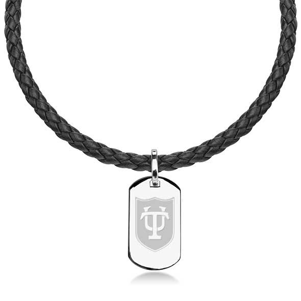 Tulane University Leather Necklace with Sterling Dog Tag