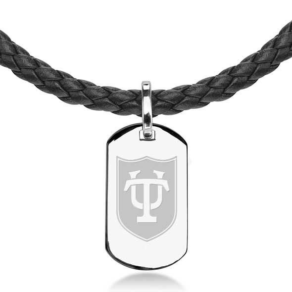 Tulane University Leather Necklace with Sterling Dog Tag - Image 2