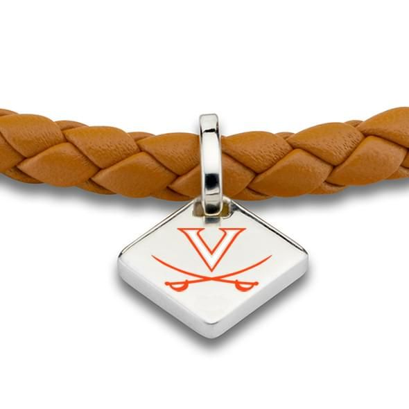 Virginia Leather Bracelet with Sterling Silver Tag - Saddle - Image 2