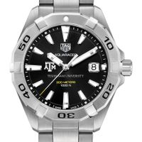 Texas A&M University Men's TAG Heuer Steel Aquaracer with Black Dial