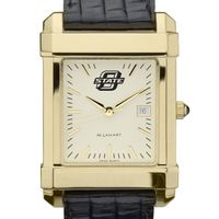 Oklahoma State University Men's Gold Quad with Leather Strap