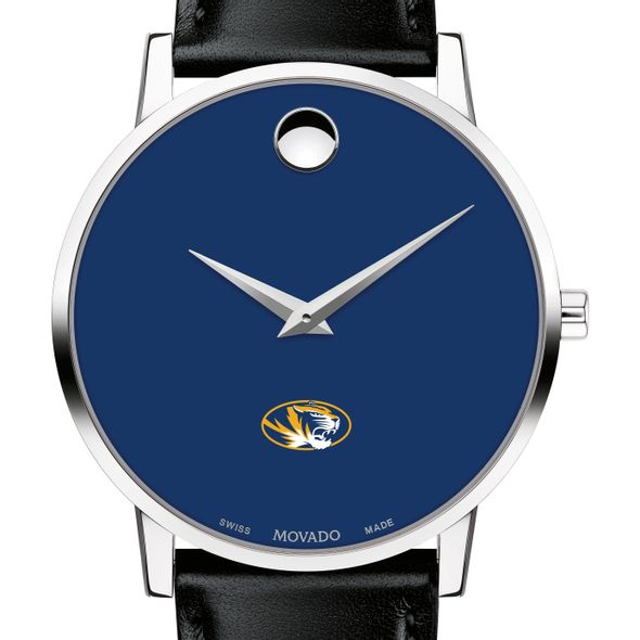 University of Missouri Men's Movado Museum with Blue Dial & Leather Strap