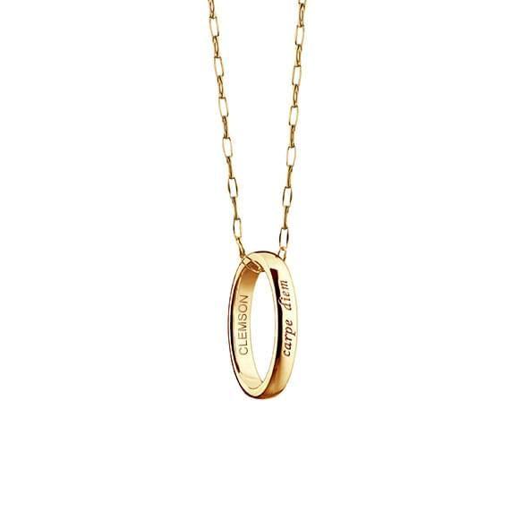 """Clemson Monica Rich Kosann """"Carpe Diem"""" Poesy Ring Necklace in Gold"""
