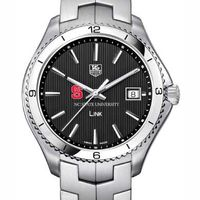NC State TAG Heuer Men's Link Watch with Black Dial
