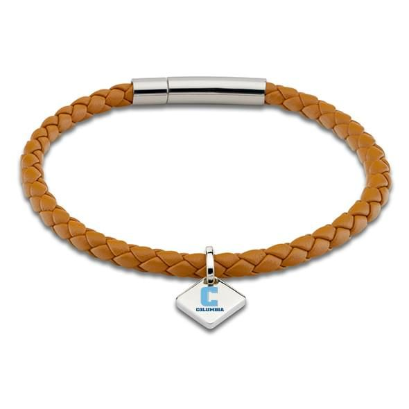 Columbia Leather Bracelet with Sterling Silver Tag - Saddle
