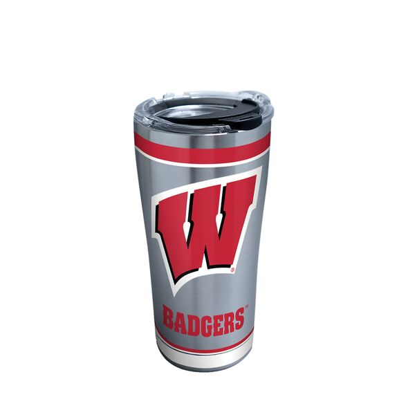 Wisconsin 20 oz. Stainless Steel Tervis Tumblers with Hammer Lids - Set of 2 - Image 1