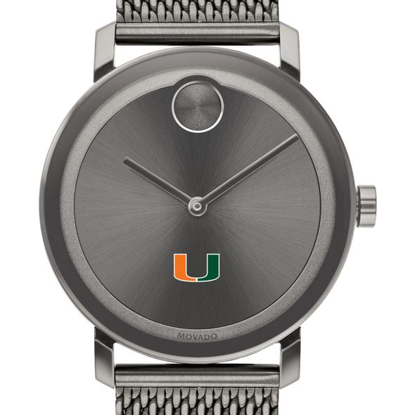 University of Miami Men's Movado BOLD Gunmetal Grey with Mesh Bracelet - Image 1