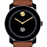 Texas A&M Men's Movado BOLD with Brown Leather Strap