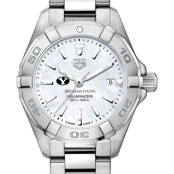 Brigham Young University Women's TAG Heuer Steel Aquaracer w MOP Dial
