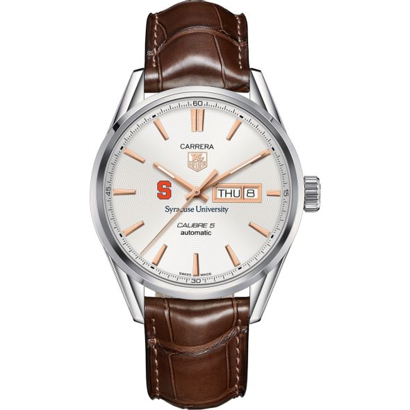 Syracuse University Men's TAG Heuer Day/Date Carrera with Silver Dial & Strap - Image 2