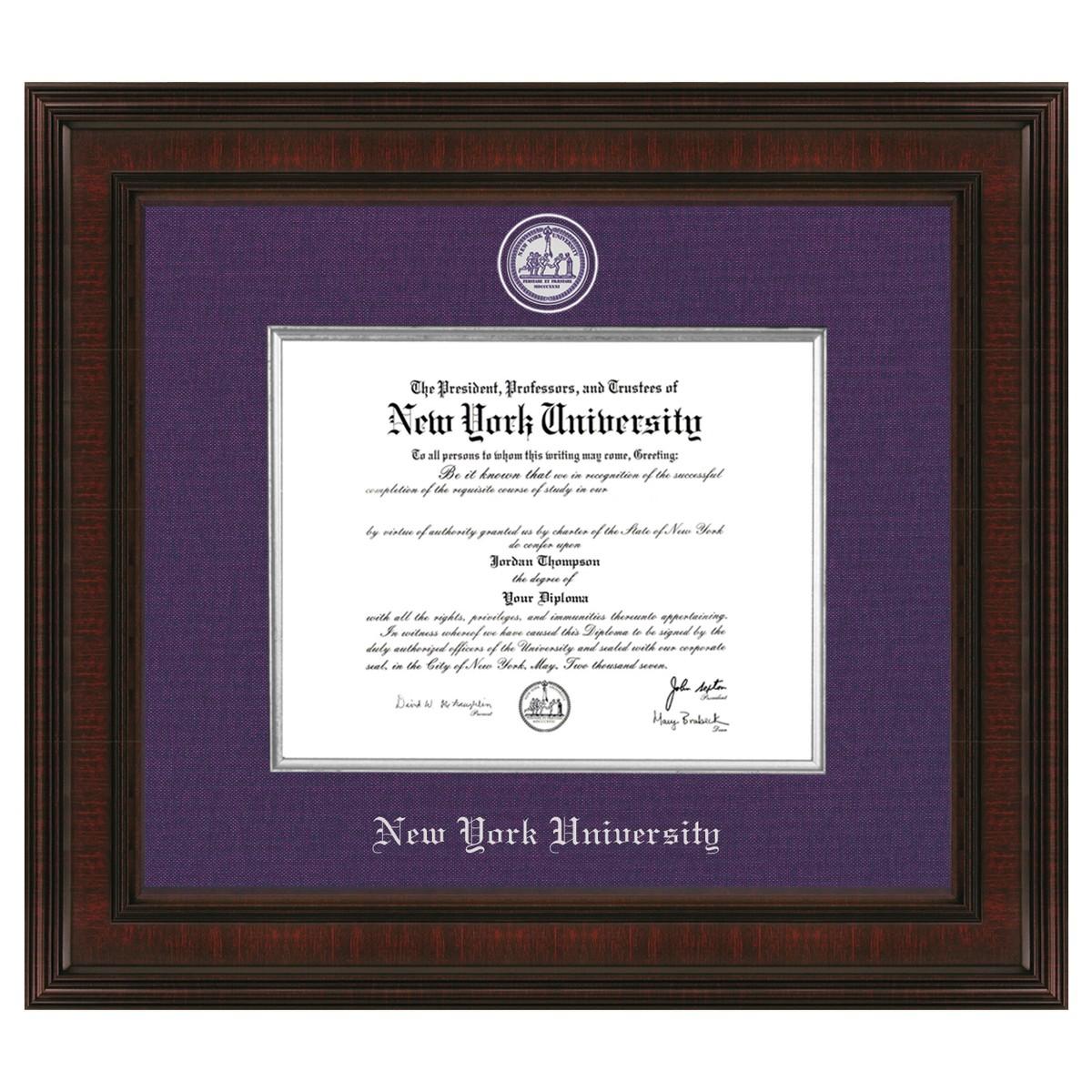 New York University Diploma Frame Excelsior Graduation