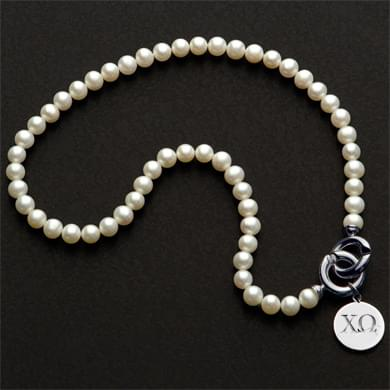 Chi Omega Pearl Necklace with Sterling Silver Charm