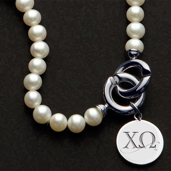 Chi Omega Pearl Necklace with Sterling Silver Charm - Image 2
