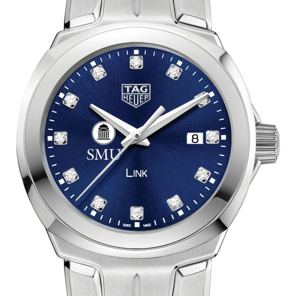 Southern Methodist University Women's TAG Heuer Link with Blue Diamond Dial