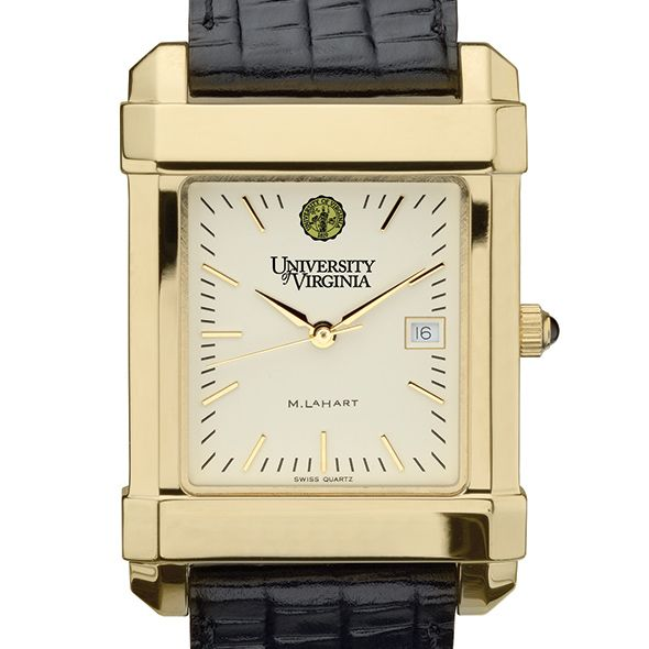 UVA Men's Gold Quad Watch with Leather Strap - Image 1