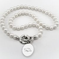 University of Arkansas Pearl Necklace with Sterling Silver Charm