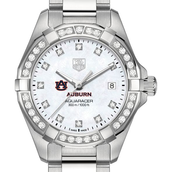 Auburn University W's TAG Heuer Steel Aquaracer with MOP Dia Dial & Bezel