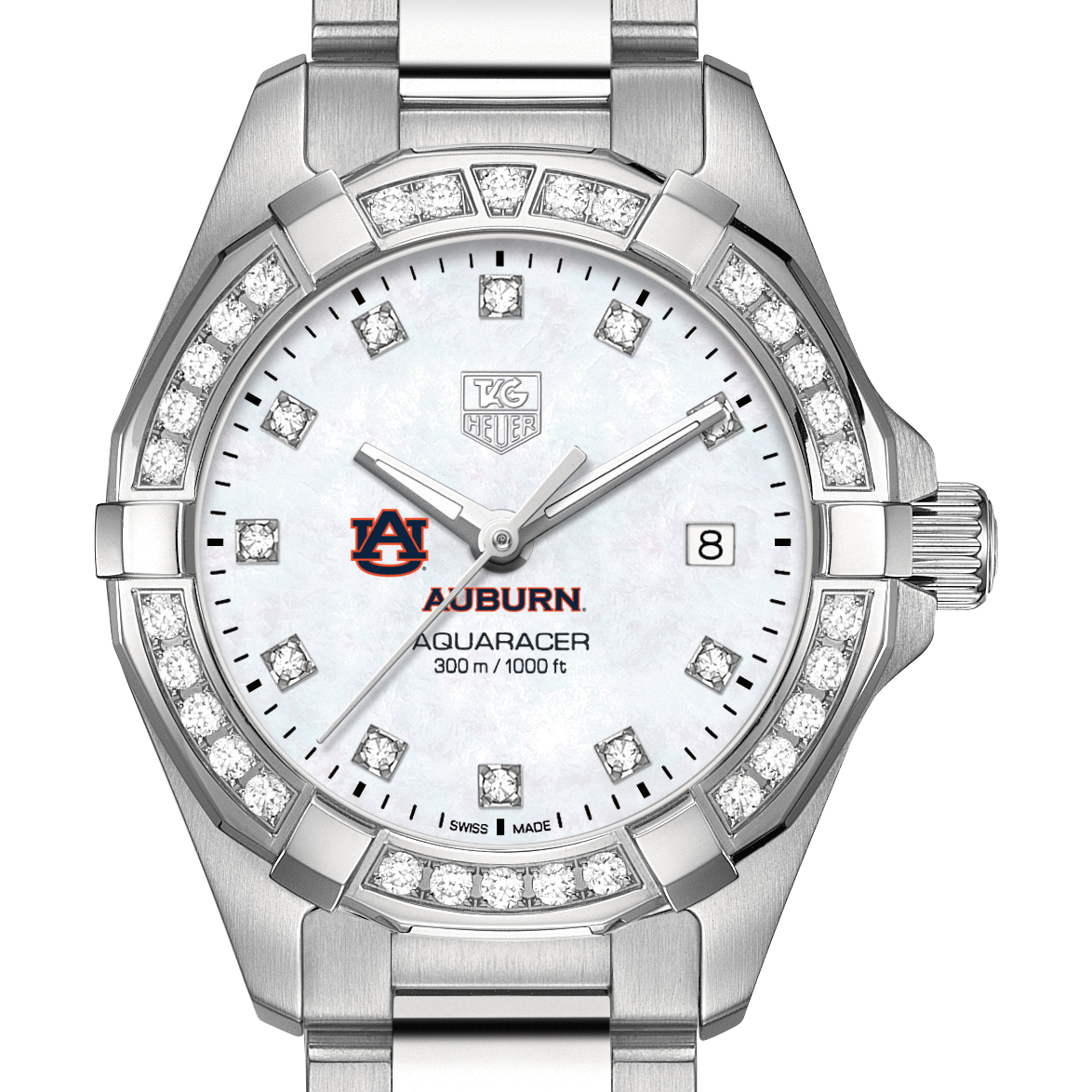 Auburn Women's TAG Heuer Steel Aquaracer with MOP Diamond Dial & Diamond Bezel