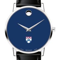 University of Pennsylvania Men's Movado Museum with Blue Dial & Leather Strap