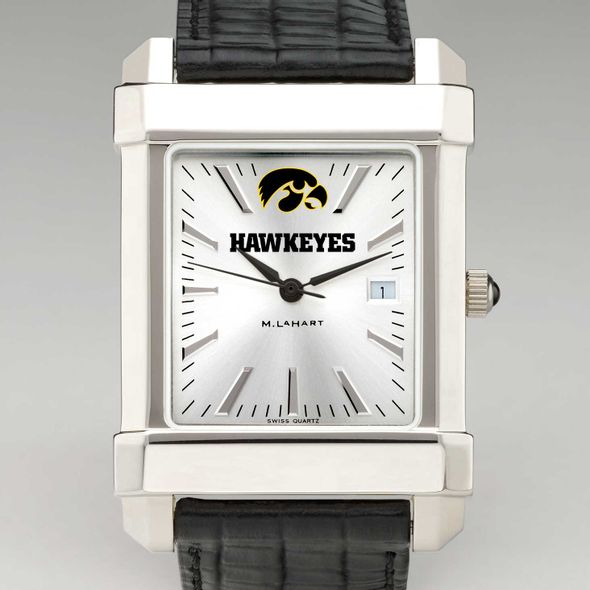 University of Iowa Men's Collegiate Watch with Leather Strap