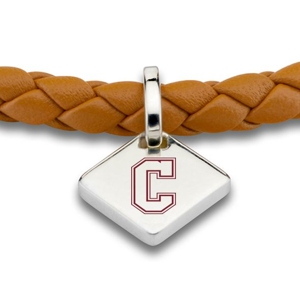 College of Charleston Leather Bracelet with Sterling Silver Tag - Saddle - Image 2