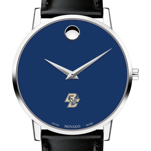 Boston College Men's Movado Museum with Blue Dial & Leather Strap