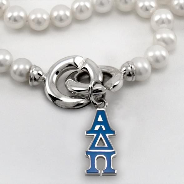 Alpha Delta Pi Pearl Necklace with Greek Letter Charm - Image 2