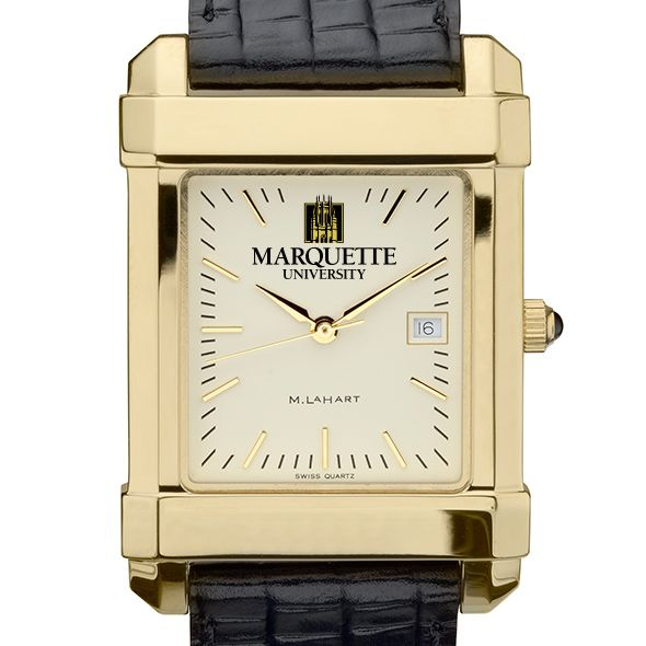 Marquette Men's Gold Quad Watch with Leather Strap - Image 1