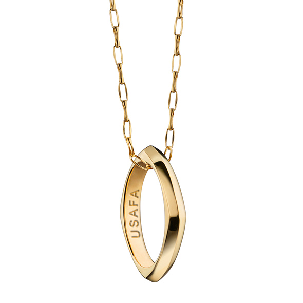 US Air Force Academy Monica Rich Kosann Poesy Ring Necklace in Gold